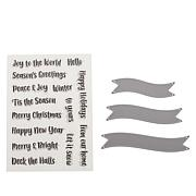 Crafter's Companion Festive Curved Banner Sentiment Stamp & Die Set