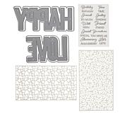 Crafter's Companion Shaped Word Dies, Stencils and Stamps Set