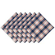 Design Imports Autumn Farmhouse Plaid Cloth Napkins Set of 6