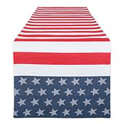 """Design Imports Stars and Stripe 14"""" x 72"""" Jacquard Table Runner"""