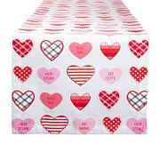 """Design Imports Sweet Hearts Print Table Runner - 14"""" x 72"""""""