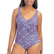 Dolfin Aquashape Printed Ruched One-Piece Swimsuit