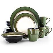 Elama Grand Jade 16 Piece Stoneware Dinnerware Set