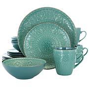 Elama Sea Foam Mozaic 16 Piece Round Stoneware Dinnerware Set in Se...