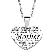 Everscribe Mother Engraved Family Names Heart Necklace