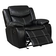 Furniture of America Arya Leatherette Glider Recliner - Black