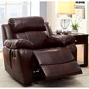 Furniture of America Leslie Bonded Leather Glider Recliner - Dk Brown