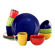Gibson Home 12-piece Color Vibes Handpainted Stoneware Dinnerware Set