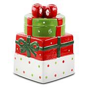 "Gibson Home Holiday Cheer 7.5"" Gift Box Hand-Painted Cookie Jar"
