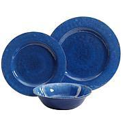 Gibson Home Meilee 12pc Melamine Dinnerware Set in Cobalt Blue Crackle