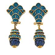 "Heidi Daus ""Daringly Deco"" Crystal and Enamel Earrings"