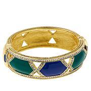 "Heidi Daus ""Divine Diamond"" Crystal and Enamel Hinged Bangle Bracelet"