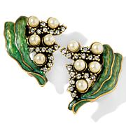 "Heidi Daus ""Lily of the Valley"" Enamel and Crystal Earrings"