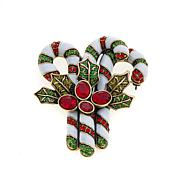 "Heidi Daus ""Peppermint Pretty"" Enamel and Crystal Pin"