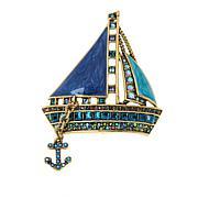 "Heidi Daus ""Smooth Sailing"" Crystal and Enamel Pin"