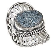 Himalayan Gems™ Caribbean Blue Drusy Lace Design Sterling Silver Ring
