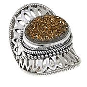 Himalayan Gems™ Goldtone Drusy Lace Design Sterling Silver Ring