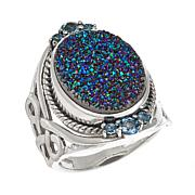 Himalayan Gems™ Green Drusy and Blue Topaz Ring