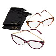IMAN Global Chic 2-pack Cateye Readers with Pouch Case