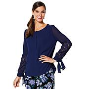 IMAN Global Chic Dressed & Ready Lace-Accented Blouse