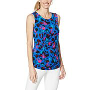 IMAN Global Chic Knot-Front Printed Tank