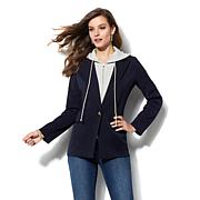 IMAN Runway Chic Twill Blazer with Removable Hoodie