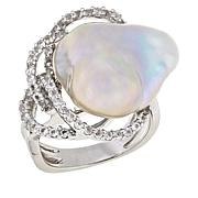 Imperial Pearls Baroque Cultured Pearl and Topaz Tangle Ring