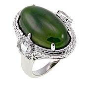 Jade of Yesteryear Nephrite Jade and White Topaz Ring