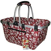 JanetBasket Large Aluminum Frame Bag - Red Floral
