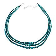 "Jay King 3-Strand Hubei Turquoise Bead 18"" Sterling Silver Necklace"