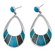 Jay King Mongolian Turquoise Inlay Sterling Silver Drop Earrings