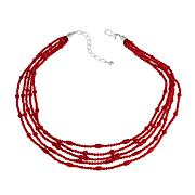"""Jay King Red Bamboo Coral 5-Strand 18-1/4"""" Necklace"""