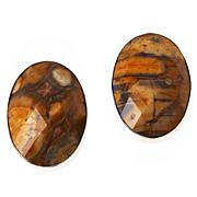 Jay King Sterling Silver Multi-Color Shitake Stone Oval Earrings