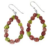 Jay King Strawberry Quartz and Peridot Bead Loop Drop Earrings