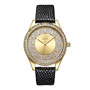 "JBW ""Mondrian"" 12-Diamond Goldtone Stainless Steel Black Leather Watch"