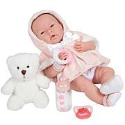 "JC Toys La Newborn 15"" Real Girl Baby Doll Pink Overcoat & Teddy Bear"