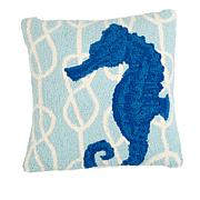 Jeffrey Banks Seahorse Decorative Hand-Hooked Wool Pillow