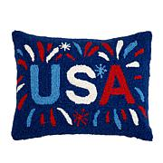 Jeffrey Banks USA Decorative Hand-Hooked Wool Pillow