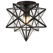 "Jonathan Y Stella 9.75"" Moravian Star Metal Glass LED Flush Mount"