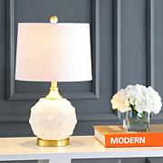 """JONATHAN Y White Brass Gold Ilsa 22"""" Dotted Glass Metal LED Table Lamp"""
