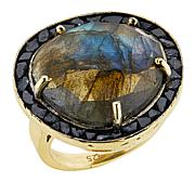 Joya Deco Labradorite and Diamond Goldtone Ring