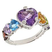 Judith Ripka Sterling Silver Multi-Gemstone Heart Ring