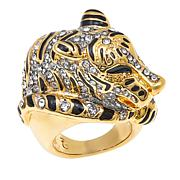 """KJL by Kenneth Jay Lane """"Fanciful Tiger"""" Crystal and Enamel Ring"""