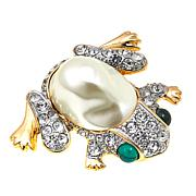 KJL by Kenneth Jay Lane Simulated Pearl and Crystal Frog Brooch