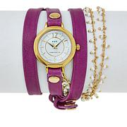 "La Mer ""Nepali"" White Seed Bead Fuchsia Leather Wrap Watch"