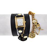 "La Mer ""Viva Las Vegas"" Black Leather Wrap Watch"