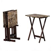 Linon Home Ranger Brown Faux Marble Tray Table Set - Brown