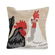 "Liora Manne Frontporch Rooster Duet 18"" Square Pillow"