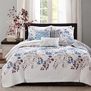 Madison Park Luna 6pc Blue Quilted Coverlet Set - F/Q