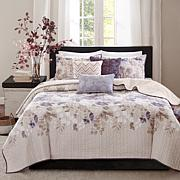 Madison Park Luna 6pc Taupe Quilted Coverlet Set - K/CK
